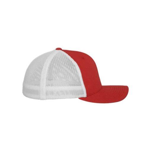 Flexfit Trucker Cap Mesh rot/weiß - Fitted Seitenansicht rechts