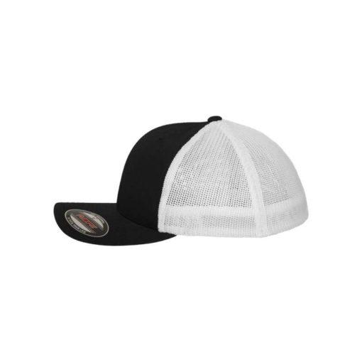 Flexfit Trucker Cap Mesh schwarz/weiß - Fitted Seitenansicht links