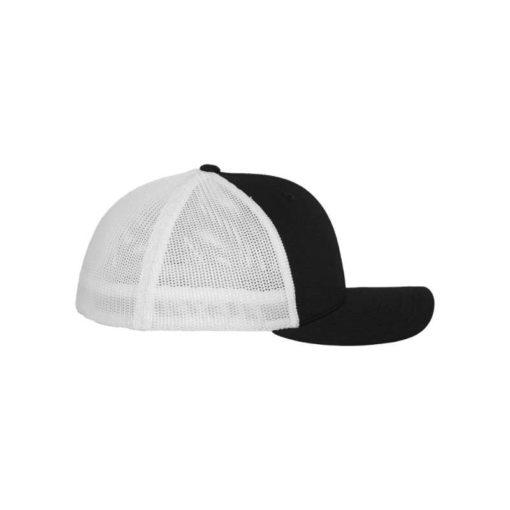 Flexfit Trucker Cap Mesh schwarz/weiß - Fitted Seitenansicht rechts