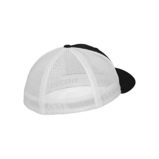 Flexfit Trucker Cap Mesh schwarz/weiß - Fitted Seitenansicht hinten