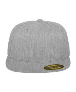 Premium Cap 210 Graumeliert 6 Panel - Fitted Ansicht vorne