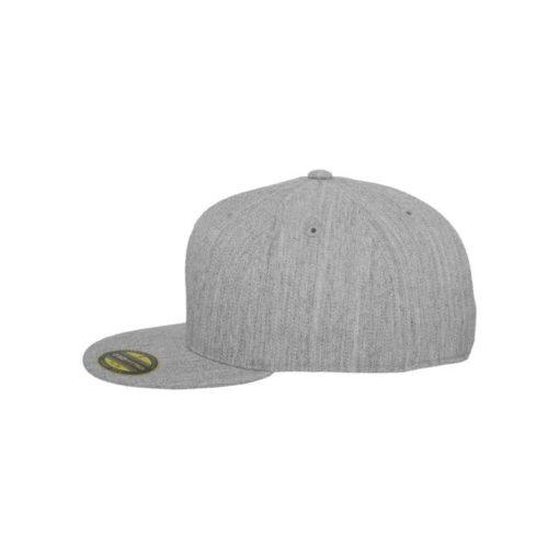 Premium Cap 210 Graumeliert 6 Panel - Fitted Seitenansicht links