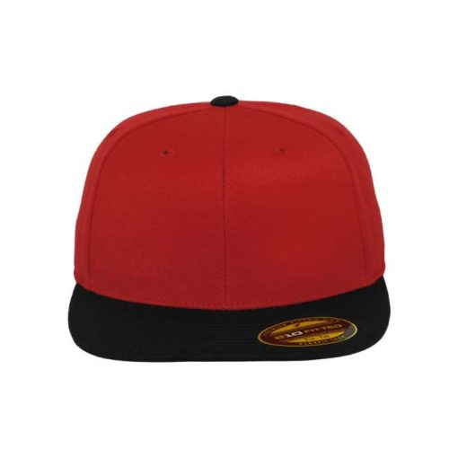 Premium Cap 210 Rot/Schwarz 6 Panel - Fitted Ansicht vorne