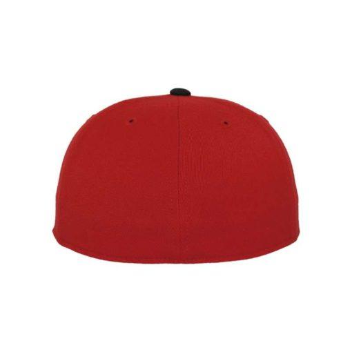 Premium Cap 210 Rot/Schwarz 6 Panel - Fitted Ansicht hinten