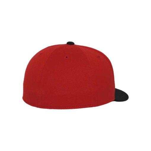Premium Cap 210 Rot/Schwarz 6 Panel - Fitted Seitenansicht hinten