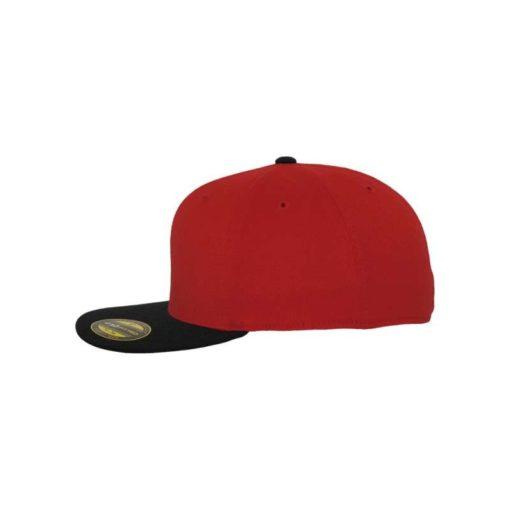 Premium Cap 210 Rot/Schwarz 6 Panel - Fitted Seitenansicht links