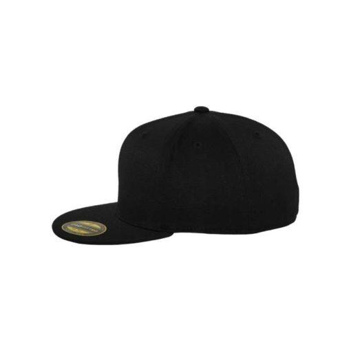 Premium Cap 210 Schwarz 6 Panel - Fitted Seitenansicht links