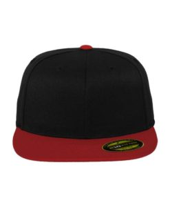 Premium Cap 210 Schwarz/Rot 6 Panel - Fitted Ansicht vorne