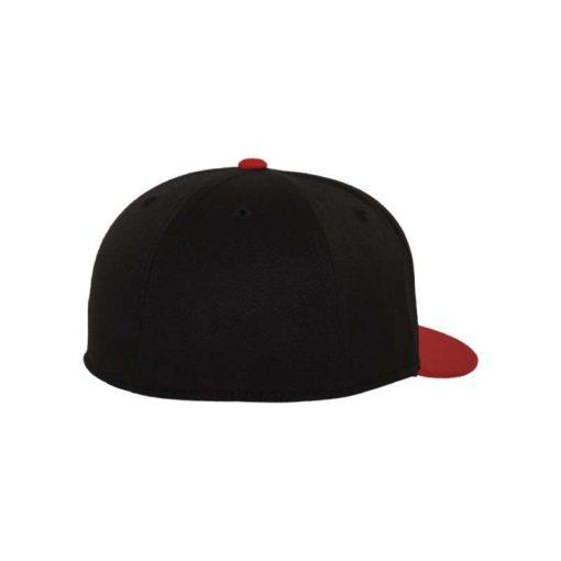 Premium Cap 210 Schwarz/Rot 6 Panel - Fitted Seitenansicht hinten