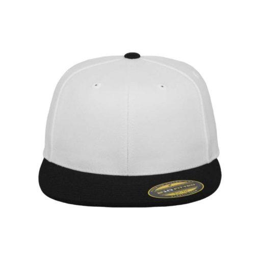Premium Cap 210 Weiß/Schwarz 6 Panel - Fitted Ansicht vorne