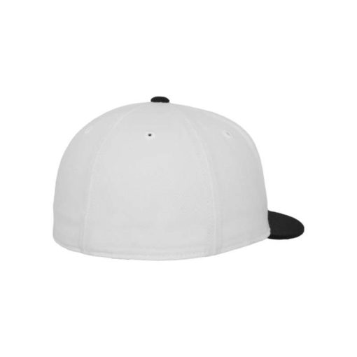 Premium Cap 210 Weiß/Schwarz 6 Panel - Fitted Seitenansicht hinten