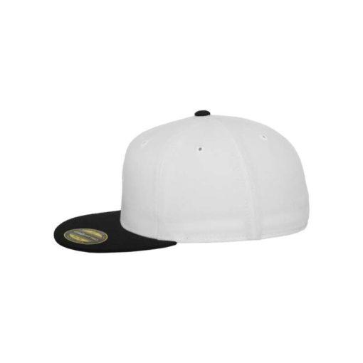 Premium Cap 210 Weiß/Schwarz 6 Panel - Fitted Seitenansicht links