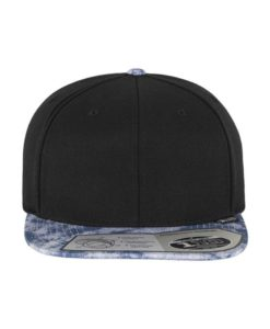 Premium Snapback Cap 110 Acid Effect Schwarz/Blau 6 Panel - verstellbar Ansicht vorne