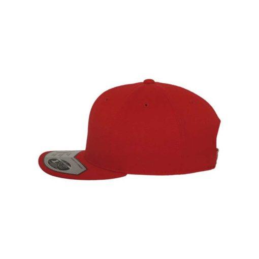 Premium Snapback Cap 110 Rot 6 Panel - verstellbar Seitenansicht links