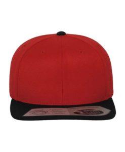 Premium Snapback Cap 110 rot/schwarz 6 Panel - verstellbar Ansicht vorne