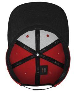 Premium Snapback Cap 110 rot/schwarz 6 Panel - verstellbar Ansicht innen