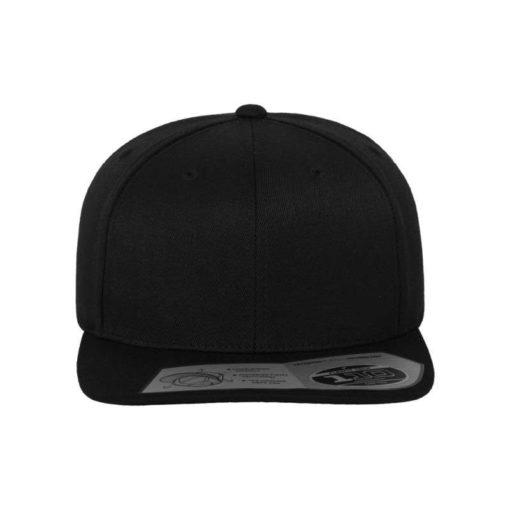 Premium Snapback Cap 110 Schwarz 6 Panel - verstellbar Ansicht vorne