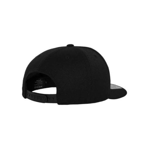 Premium Snapback Cap 110 Schwarz 6 Panel - verstellbar Seitenansicht hinten