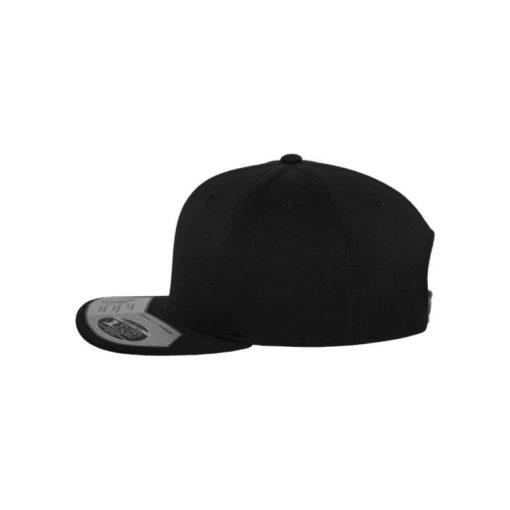 Premium Snapback Cap 110 Schwarz 6 Panel - verstellbar Seitenansicht links
