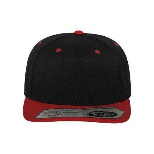 Premium Snapback Cap 110 Schwarz/Rot 6 Panel - verstellbar Ansicht vorne