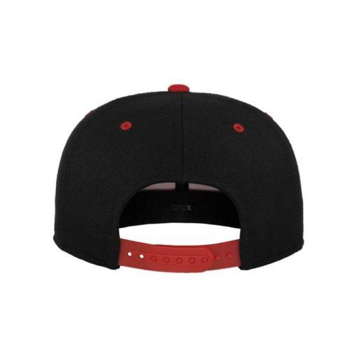 Premium Snapback Cap 110 Schwarz/Rot 6 Panel - verstellbar Ansicht hinten