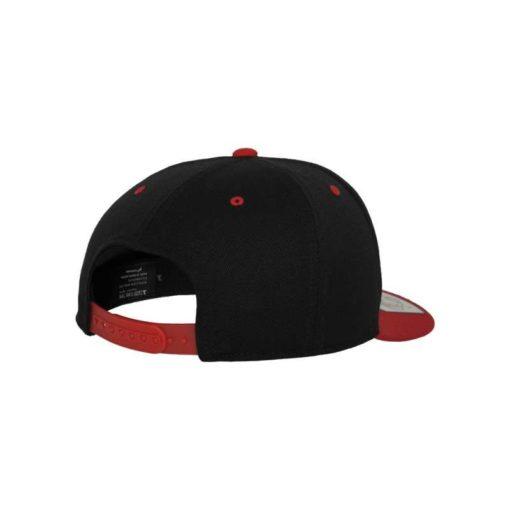 Premium Snapback Cap 110 Schwarz/Rot 6 Panel - verstellbar Seitenansicht hinten