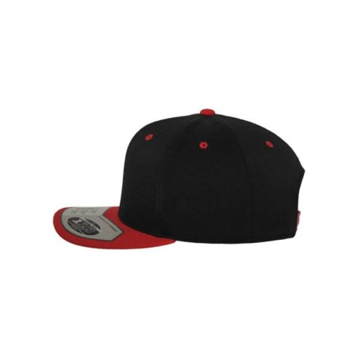 Premium Snapback Cap 110 Schwarz/Rot 6 Panel - verstellbar Seitenansicht links