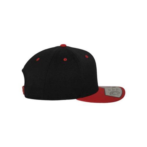 Premium Snapback Cap 110 Schwarz/Rot 6 Panel - verstellbar Seitenansicht rechts