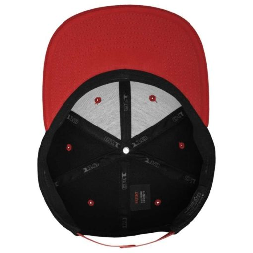 Premium Snapback Cap 110 Schwarz/Rot 6 Panel - verstellbar Ansicht innen