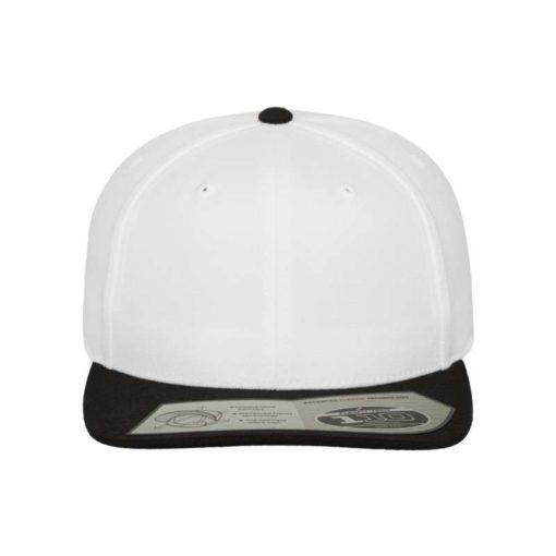 Premium Snapback Cap 110 Weiß/Schwarz 6 Panel - verstellbar Ansicht vorne