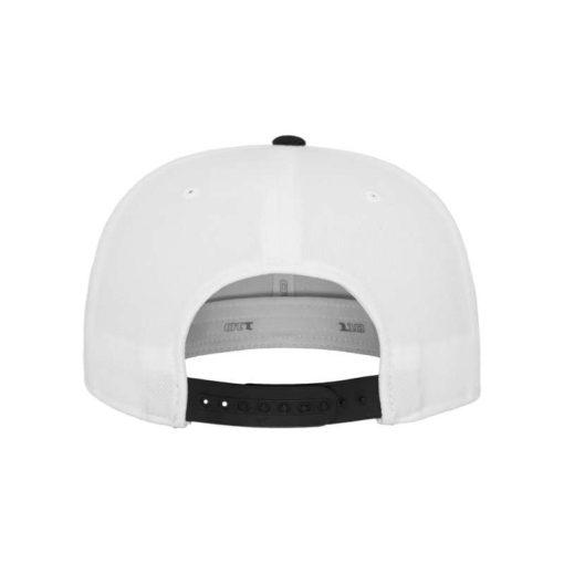Premium Snapback Cap 110 Weiß/Schwarz 6 Panel - verstellbar Ansicht hinten