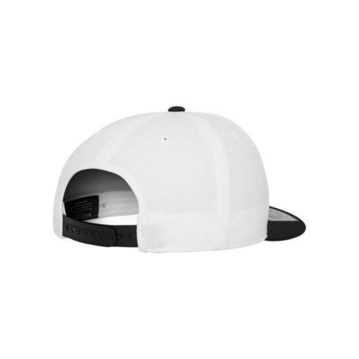 Premium Snapback Cap 110 Weiß/Schwarz 6 Panel - verstellbar Seitenansicht hinten