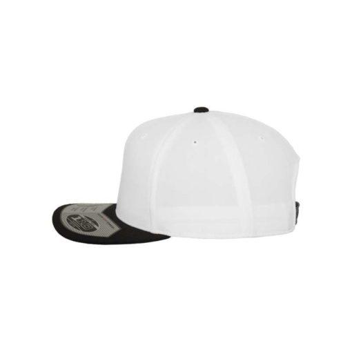 Premium Snapback Cap 110 Weiß/Schwarz 6 Panel - verstellbar Seitenansicht links
