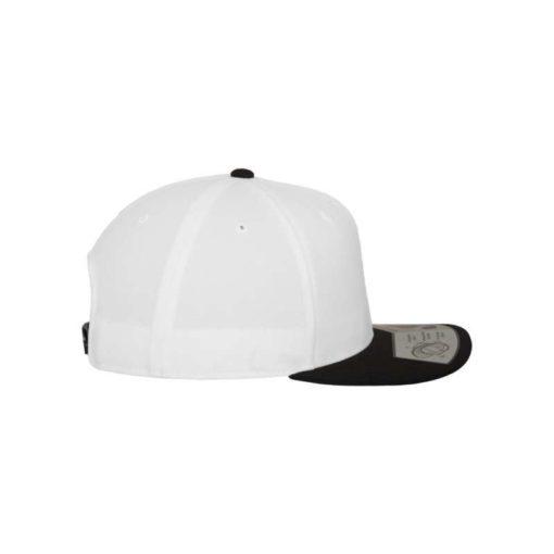 Premium Snapback Cap 110 Weiß/Schwarz 6 Panel - verstellbar Seitenansicht rechts