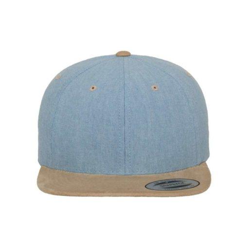 Premium Snapback Cap Blau/Wildleder Beige 6 Panel - verstellbar Ansicht vorne