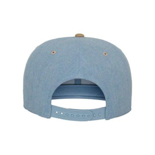 Premium Snapback Cap Blau/Wildleder Beige 6 Panel - verstellbar Ansicht hinten