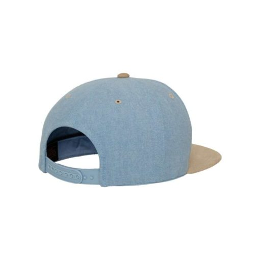 Premium Snapback Cap Blau/Wildleder Beige 6 Panel - verstellbar Seitenansicht hinten