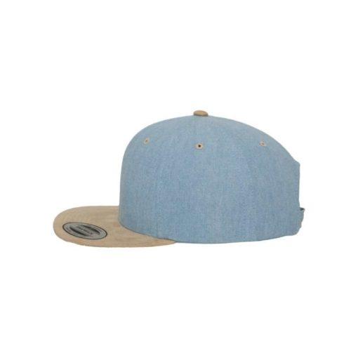Premium Snapback Cap Blau/Wildleder Beige 6 Panel - verstellbar Seitenansicht links