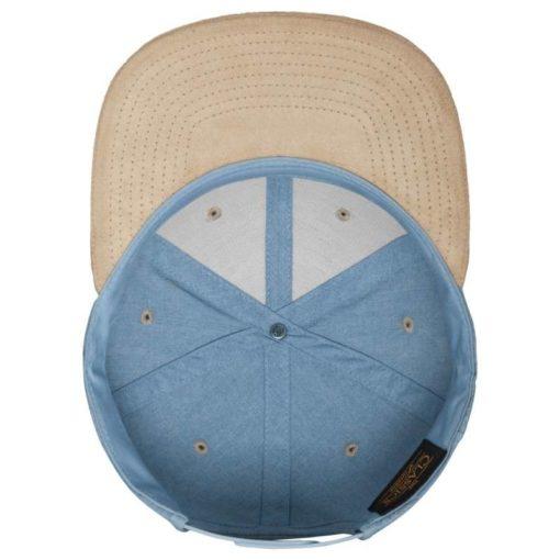 Premium Snapback Cap Blau/Wildleder Beige 6 Panel - verstellbar Ansicht innen