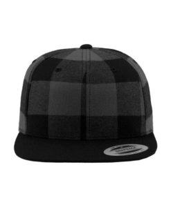 Premium Snapback Cap Flanell Schwarz/Grau 6 Panel - verstellbar Ansicht vorne