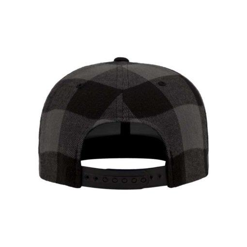 Premium Snapback Cap Flanell Schwarz/Grau 6 Panel - verstellbar Ansicht hinten