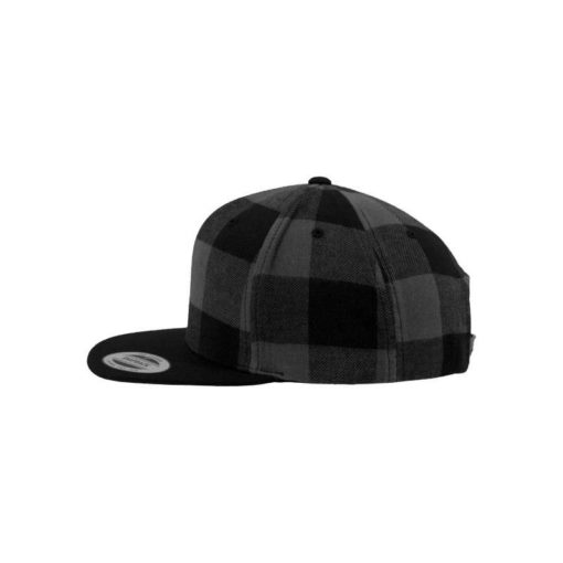 Premium Snapback Cap Flanell Schwarz/Grau 6 Panel - verstellbar Seitenansicht links