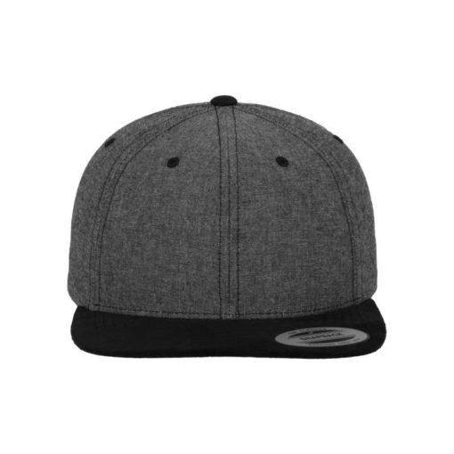 Premium Snapback Cap Grau/Wildleder Schwarz 6 Panel - verstellbar Ansicht vorne