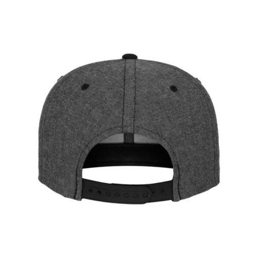 Premium Snapback Cap Grau/Wildleder Schwarz 6 Panel - verstellbar Ansicht hinten