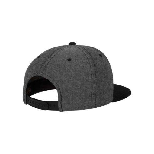 Premium Snapback Cap Grau/Wildleder Schwarz 6 Panel - verstellbar Seitenansicht hinten