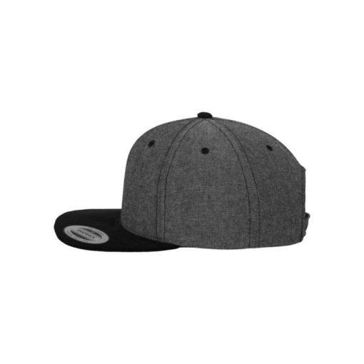 Premium Snapback Cap Grau/Wildleder Schwarz 6 Panel - verstellbar Seitenansicht links