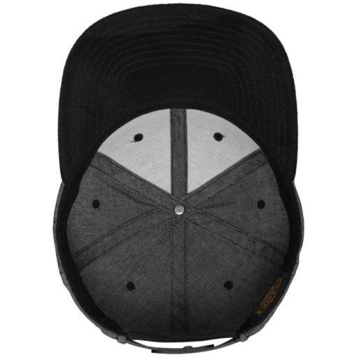 Premium Snapback Cap Grau/Wildleder Schwarz 6 Panel - verstellbar Ansicht innen