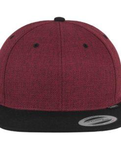Premium Snapback Cap Melange Rotmeliert/Schwarz 6 Panel - verstellbar Ansicht vorne