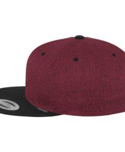 Premium Snapback Cap Melange Rotmeliert/Schwarz 6 Panel - verstellbar Seitenansicht links