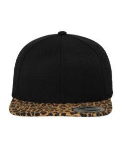 Snapback Cap Animal Schwarz/Leopard 6 Panel - verstellbar Ansicht vorne
